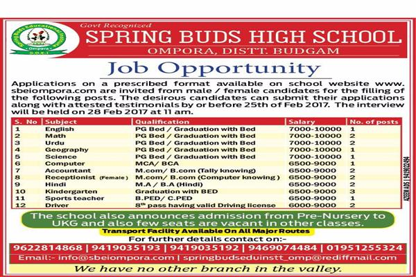 Job vacany at Spring Buds High School Budgam | KNO