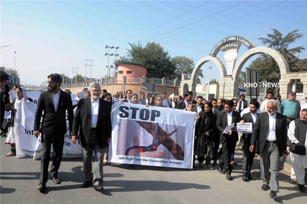 Kashmir lawyers protest, demand immediate end to braid-cutting | KNO