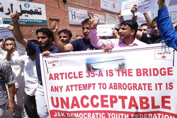 JKDYF holds protest demonstration in favour of Article 35A | KNO