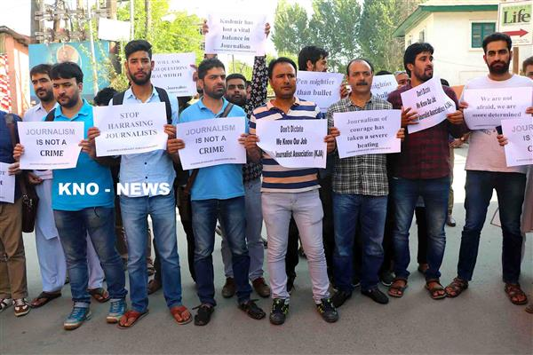 Journalists stage protest for arrested colleague, seek his release | KNO