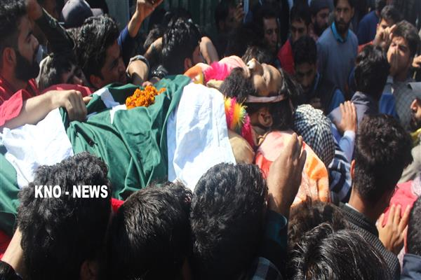 Thousands attend funeral prayers of slain Pulwama militant | KNO