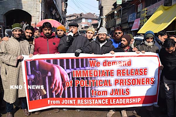 On JRL's call, JKLF holds sit-in against 'plight' of inmates | KNO
